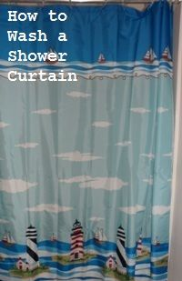 Easy DIY tips for removing rusty colored hard water deposits from shower curtains. #cleaning #shower