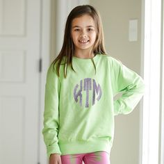 Girls Lime Lightweight Pullover with Lavender Sparkle Initials – Lolly Wolly Doodle