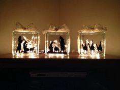 Vinyl and Glass Blocks Nativity Set