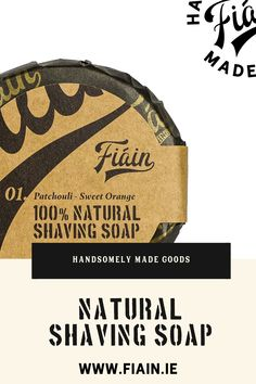 This Irish made shaving soap is 100% natural. It smells terrific thanks to the organic ingredients & patchouli & sweet orange essential oils. Bentonite clay provides the slip needed, allowing the razor blade to glide across the skin. Pair it with our brass double-edged safety razor & you have a fantastic gift for yourself or someone you love. The soap puck is sized to fit our shave bowl. The soap packaging paper we use is printed with eco-friendly soy ink. The outer sleeve is Kraft paper.