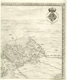 Jacques Callot | Beleg van Breda, 27 augustus 1624-5 juni 1625 (deel rechtsboven), Jacques Callot, 1628 | Zesde deel (rechtsboven) van een voorstelling van het beleg van de stad Breda in de jaren 1624 en 1625 door de Spanjaarden onder aanvoering van Ambrogio Spinola. Op dit blad een deel van de belegeringswerken en kampementen om Breda, en het wapen van Isabella Clara Eugenia, landvoogdes over de Nederlanden. Rechts van en boven de voorstelling een ornamentele rand.