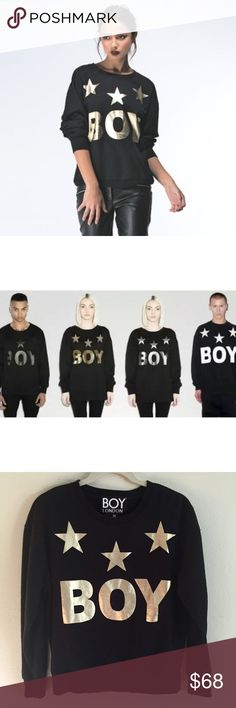Boy London▪️Boy Tri-Star Sweat (Gold) Classic Boy London design on black sweatshirt. Make sure your sweats shine as much as you do in this edgy crew neck sweatshirt.                                                               ⭐️Bundle & $ave⭐️ Boy London Sweaters Crew & Scoop Necks