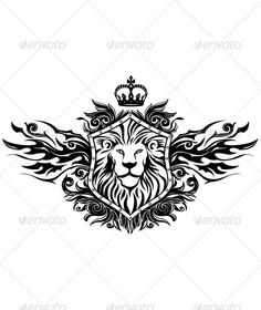 Lion On Shield Insignia — Photoshop PSD #illustration and painting #winged • Available here → https://graphicriver.net/item/lion-on-shield-insignia/2269800?ref=pxcr