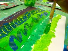 Hundertwasser art project for kids that teaches warm and cool colors plus pattern and line.
