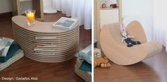Rocking chair transformable en table basse design