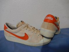 new concept a064c 48d51 Vtg 1980 Nike SAMPLE Canvas Shoes Florida Gators Rare OG sz 9 White Orange  SMU