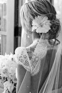 flower hair piece + delicate veil