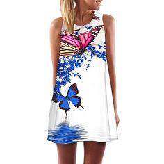 MRULIC Frauen Lose Sommer Weinlese Blumendruck Kurzschluss 3D Bild  Minikleid Gerades Kleid mit Schmetterlinge Muster(A-Weiß,EU-38/CN-S) -  Sommer Hosen ...