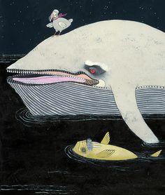 Night Voyage(detail)by Jennifer Davis  http://www.flickr.com/photos/jenniferdavisart  art painting whale walrus dodo love this little ladys art.