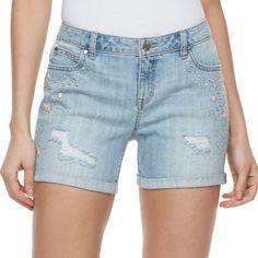 Women's Jennifer Lopez Embellished Ripped Jean Shorts