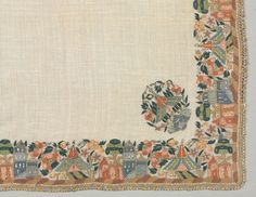 Turkey, plain weave: linen; embroidery, double-running stitch: silk, gilt-metal strips and thread, Overall: 92 x 92.5 cm (36 3/16 x 36 3/8 in). Gift of Mr. and Mrs. J. H. Wade 1916.1254