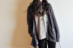 polkadot button up shirt. pattern: grainline studio archer button up Vivat Veritas Blog
