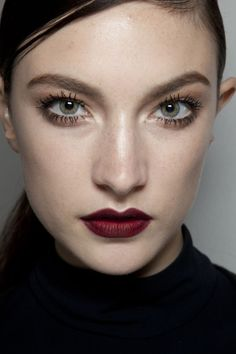 mascara & oxblood lips #beauty #makeup #lipstick