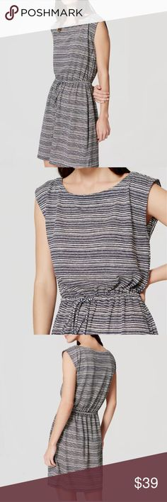 NWT Loft striped drawstring tie waist dress linen Striped drawstring linen blend short sleeve dress from Ann Taylor Loft. Lightweight, perfect for keeping cool in the summer. Casual. Comfy. Above the knee.  Size xsmall New with tags Blue and white  Cap sleeves Boatneck Drawstring tie at waist Side slits 19 1/2 inches from natural waist 54% polyester, 46% linen LOFT Dresses Mini