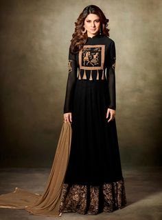 Look sensationally awesome in this Jennifer Winget black faux georgette floor length anarkali suit. This attire is beautifully adorned with embroidered and lace work. Comes with matching bottom and du. Black Anarkali, Anarkali Dress, Anarkali Suits, Black Abaya, Long Anarkali, Sharara Suit, Indian Dresses, Indian Outfits, Gown Suit