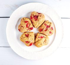 I cut these biscuits into a heart shape – because Valentine's Day is coming of course – but also because they're pretty. Before they went into the oven, I brushed th…