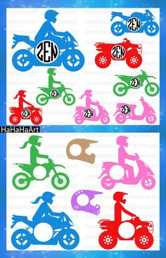 ♛♛ Circle Motorcycles and ATV Monogram Color - Cutting files ♛♛  The designs are made by HaHaHaArt. Dont reproduce/copy the designs.  The files can be use with Silhouette and Cricut cutting machines. If you have other types of cutting machine, please ensure you are able to use this type of files (this is not for embroidering). The designs can be use in other projects (scrapbook, print, etc.) because the designs are saved as PNG and JPG files (same formats like photos)…