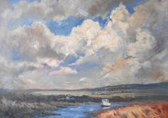 ARTFINDER: Big Sky Over Norfolk. by Mary Kemp - What attracted me to this scene was the huge sky.  We were at Morston near Blakeney in Norfolk having walked a mile or so along the coastal path.  I like t...