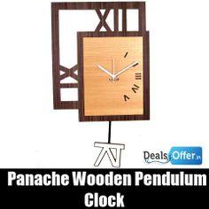 Panache Wooden Square Pendulum Clock @ 64% Off
