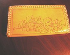 Leather Clutch Purse handcarved, calf laced, daffodil pattern