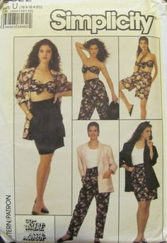 80s Simplicity 8622 Misses' Pants Shorts by SewYesterdayPatterns (Craft Supplies & Tools, Patterns & Tutorials, Sewing & Needlecraft, Sewing, commercial, sewing pattern, simplicity pattern, collectible, vintage sewing, vintage pattern, misses womens, patternpatter, sewyesterdaypatterns, pants shorts skirt, misses jacket, bra top pattern, size 16 18 20)