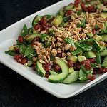 spicy salad with snap peas and pomegranate