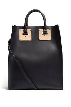 Sophie Hulme Black Large Structured Leather Tote Bag