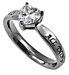 "Christian Womens Stainless Steel Abstinence 3mm Phillippians 4:13 ""All Things Through Christ My Strength"" CZ Heart Solitaire Chastity Ring for Girls - Girls Purity Ring - Comfort Fit Ring Sizes 5 to 9"