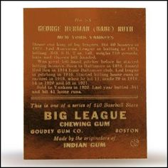 1933 Babe Ruth #53 Big League Chewing Gum 23K Gold Card Auction