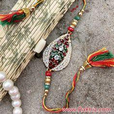 Attractive Meenakari Rakhi For Brother Buy Rakhi Online, Rakhi For Brother, Tassel Necklace, Beaded Bracelets, Rakhi Design, Online Gifts, Jewels, Handmade, Hand Made