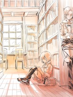 Armin & Annie i am still debating on whether or not i ship this but this is a cute picture>>I'm abandoning eren x armin ship because I now ship eren x Levi and Annie x armin