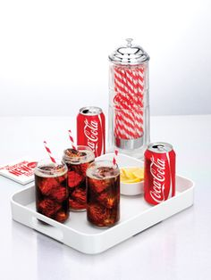 Coca cola can shapped glasses from arc and straw dispenser from