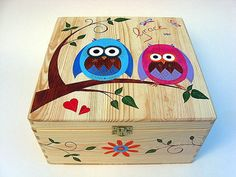 Large children's personalised memory box, Hand-painted wooden trinket box, Owl memory box, Children's keepsake box with funky owl design Wooden Box Crafts, Painted Wooden Boxes, Hand Painted, Funky Furniture, Painted Furniture, Personalised Memory Box, Ceramic Boxes, Keepsake Boxes, Trinket Boxes