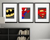 PICK 6 PRINTS Super hero wall art boys room by AmysSimpleDesigns