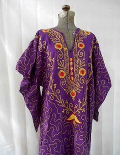 Vintage Purple embroidered maxi Kaftan Dress