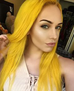 Sunburst Yellow hair anyone? Tag Sparks Color to show us what you& created. Yellow Hair Color, Cool Hair Color, Green Hair, Yellow Style, Straight Lace Front Wigs, Bright Hair, Dye My Hair, Mellow Yellow, Bright Yellow