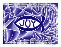"Joy Fish abstract colored pencil drawing with Bible verses relating to ""joy."""