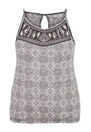 lightweight plus size patterned tank with embroidery