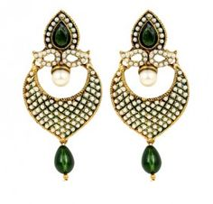 Buy stylish and Fashion Green Stone Earrings online india