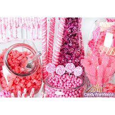 Need a candy buffet to spice up your wedding or holiday party but don't know where to start? Use Candy Warehouse's buffet builder to make your candy bar a hit! Bulk Candy, Candy Store, Pink Parties, Birthday Parties, Birthday Bash, Pink Candy Table, Pink Sweets, Bar A Bonbon, Swirl Lollipops
