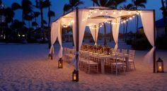An intimate and private beach wedding reception at Aruba Marriott Resort & Stellaris Casino