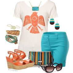 """Karina Tee + Turquoise Shorts"" by tsjgbrand on Polyvore"