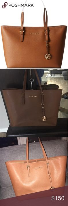 Michael Kors JetSet  Saffiano Tote-Large-Cognac Saffiano Leather. Outside perfect condition. Slight wearing on the inside - pen marks. Michael Kors Bags Totes