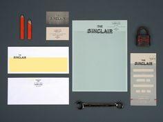 The Sinclair Branding Identity & Stationery Design Collateral Design, Brand Identity Design, Graphic Design Branding, Stationery Design, Corporate Design, Typography Design, Logo Design, Stationary Branding, Vintage Branding