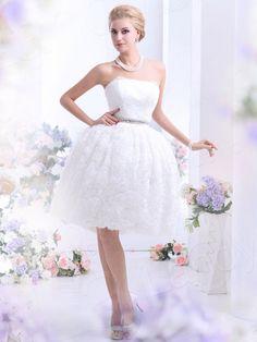 プリンセスライン レース アイボリー ウェディングドレス 花嫁ドレス 二次会ドレス B12170