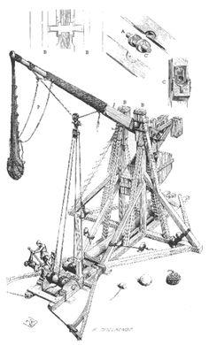 Drawing of medieval trebuchet