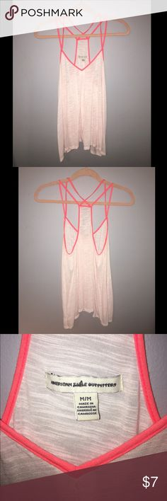 American Eagle Tank Super soft pastel pink American Eagle Outfitters Tank with bright coral/pink detailing! American Eagle Outfitters Tops Tank Tops