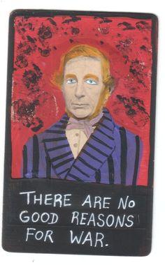 No Reason for War small original US outsider artist brut painting mixed media #Outsider