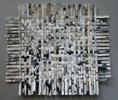 Mixed Media with Newspaper | Crossword Mixed Media Paper Weaving- White, Black, Grey,Beige Woven ...