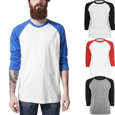 2016 Mens New Baseball Tops Fashion Trend Hip Hop Skateboard Casual T Shirts 3/4 Sleeve Raglan Tee